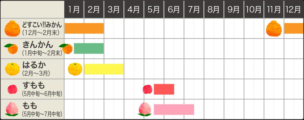 ハナウタカジツの果実カレンダー